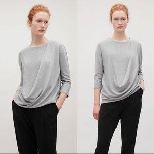 COS Asymmetric Draped Jersey Top Gray Small
